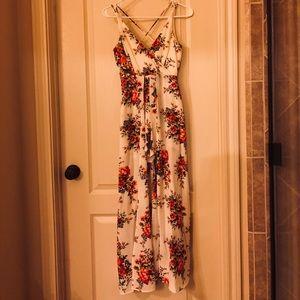 Francesca's Floral Maxi Romper Dress (Xs)
